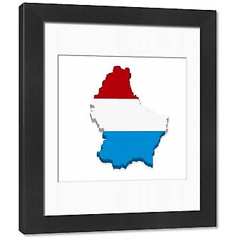 Outline and flag of Luxembourg, 3D. Framed Photo. Outline and flag of Luxembourg, 3D.