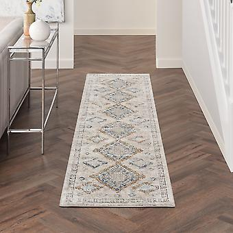 Quarry Qua14 Traditional Distressed Runner Rugs In Ivory Grey Blue