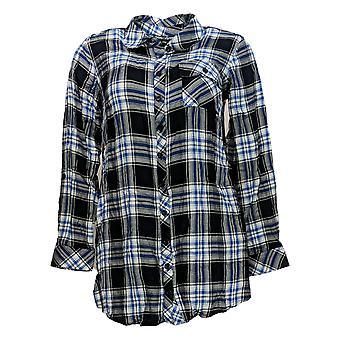 Tolani Collection Women's Petite Top 2XP Plaid Tunic w/Print Back Blue A383446