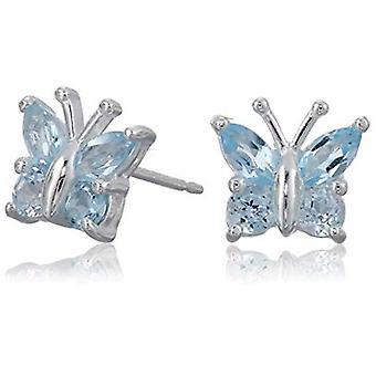 Sterling Silver Genuine Sky Blue Topaz Butterfly Stud, Blue Topaz, Size No Size