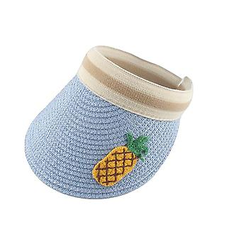 Kids Cartoon Straw Fruit Embroidery Summer Hat UV Protection