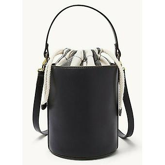 Fossil Courtney Black Bucket Bag Brass Hardware SHB2641001