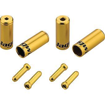 Jagwire Brake/Gear Universal Pro End Cap Packs (för flätat hölje) Guld 4,5/5mm
