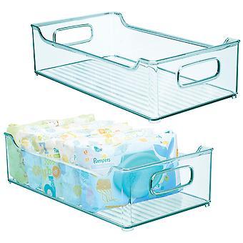 mDesign Stacking Plastic Storage Organizer Bin voor kinderbenodigdheden, 2 Pack - Blauw
