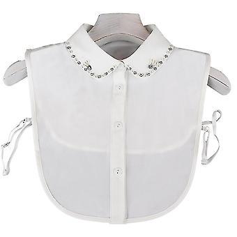 Anti Crease Halv skjorter Broderi Falsk Krage Rhinestone Pearl Avtakbar Bluse