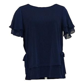 Susan Graver Top Tricot liquide pour femmes superposé avec manches en mousseline bleu A353332