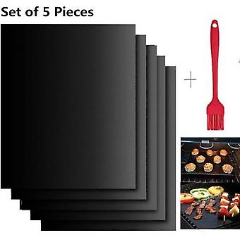 Set Of 5 Baking Mats For Barbecue And Oven 40cmx33cm Non-stick Bbq Sheets And Reusable Baking Sheets