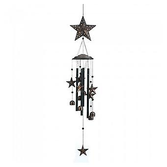 Summerfield Terrace Bronze Wind Chimes with Stars and Bells - 34 inches, Pack of 1