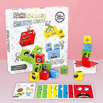 Montessori Espressione Puzzle Face Change Cube Building Blocks Giocattoli Early Learning Educational Match Toy For Children Gift
