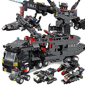 Wieloczęściowe klocki z mini figurkami robotów i klockami dla dzieci policji miejskiej(204)