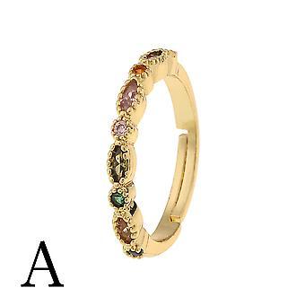 Oro placcato rame anello Antler Design Open Heart Ring Ladies Gioielli