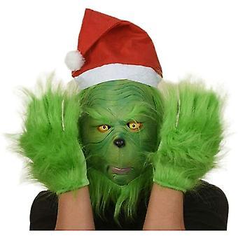 Green Grinch Masca Santa Grinch Cosplay Masca cu mănuși costum de Crăciun Cosplay Recuzită