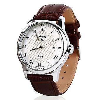Men's Watch With Leather Brown Belt