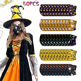 Adult Halloween Face Mask Disposable With Designs 50pcs Cute Paper Mask Printed Full Face Protection
