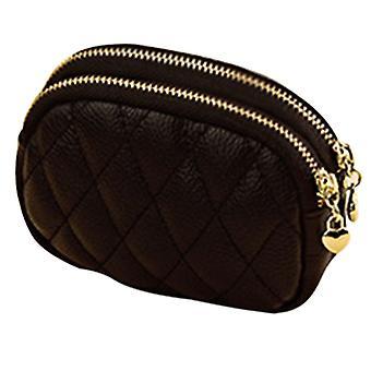 Women Faux Leather Small Wallet Double Zipper Diamond Thread Coin Purse Clutch