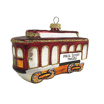 Main Street Trolley Car Christmas Holiday Ornament Glass