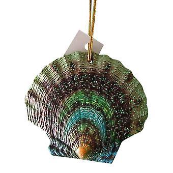 Tropical Beach Seashell Teal and Green Christmas Ornament ORNShell03