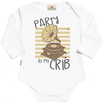 Spoilt Rotten Party At My Crib Long Sleeve Organic Baby Grow