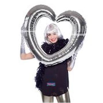inflatable picture frame Selfie frame silver heart shape 80 x 75 cm wedding decoration