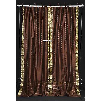 Marrone cravatta superiore Sari pura tenda / drappo / pannello - pezzo