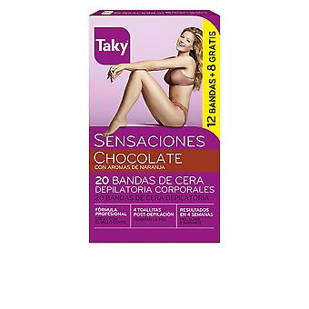 Falfoul chocolat Bandas De Cera Corporales Depilatorias 12 + 8 Uds pour les femmes