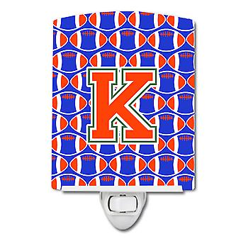 Letter K Football Green, Blue and Orange Ceramic Night Light