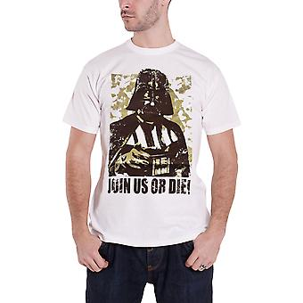Official Mens Star Wars T Shirt Darth Vader Join Us Or Die new White Size Small