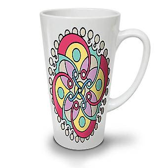 Mandala Spiral NEW White Tea Coffee Ceramic Latte Mug 12 oz | Wellcoda