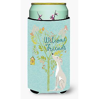 Welcome Friends Italian Greyhound Tall Boy Beverage Insulator Hugger
