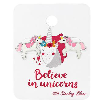Unicorn Lover Ear Studs On Card - 925 Sterling Silver Sets - W34107x