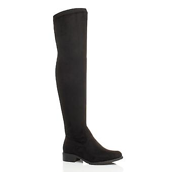 Ajvani womens low heel flat thigh high over the knee stretch riding boots