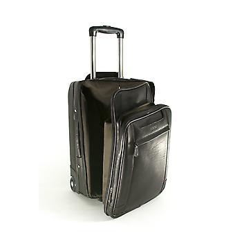 Cuero de las señoras cabina tamaño equipaje de mano con ruedas negocios carro caso bolsa de ordenador portátil