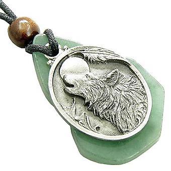 Magic ulvova susi pää ainutlaatuinen vihreä Aventuriini jalokivi rahaa Amulet riipus kaulakoru