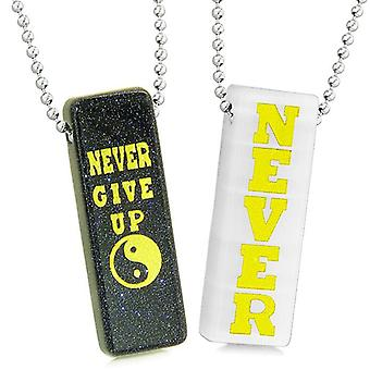 Never Give Up Love Couples Best Friend Yin Yang Amulets Goldstone White Simulated Cat Eye Necklaces