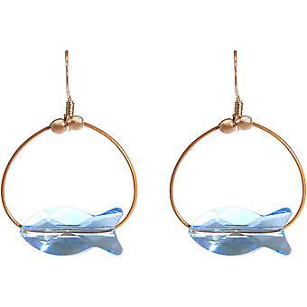 Orecchini Gemshine Rose Fish Blue MADE WITH SWAROVSKI ELEMENTS®
