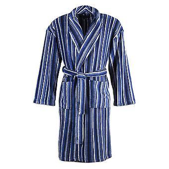 Camille Mens Supersoft Blu Navy & nero zebrato Accappatoio collo scialle