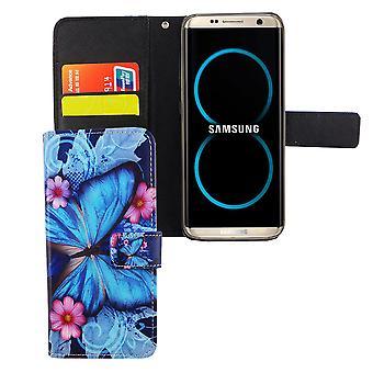 Handyhülle Tasche für Handy Samsung Galaxy S8 Blauer Schmetterling