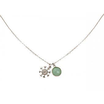 Naiset - kaulakoru - Riipukset - lumihiutale - 925 hopea - chalcedony - vihreä - Meeresgrün - 1,3 cm
