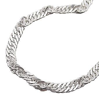 3، 3 مم سنغافورة سلسلة الماس 925 الفضة 50 سم
