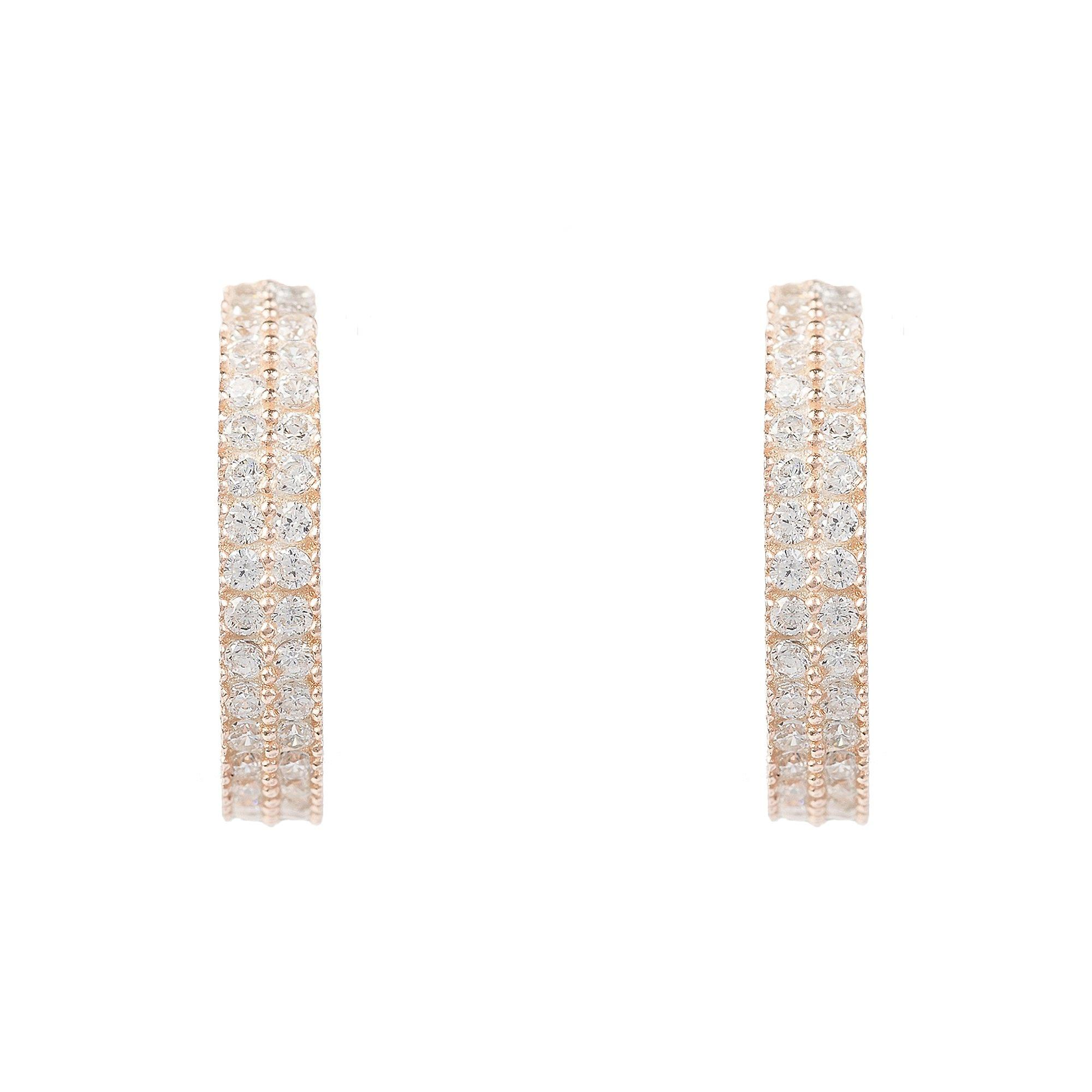 Latelita Medium Hoop Earrings Rose Gold Pink Sterling Silver 925 CZ Jewellery