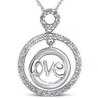 14 k White Gold 1 / 2ct Diamanten Liebe Kreis Anhänger Halskette