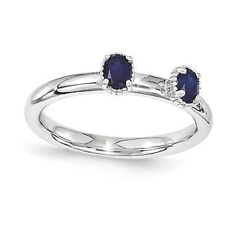 2.5mm 925 Sterling Silver Polished Prong set Rhodium plated Stackable Expressions Created Sapphire Two Stone Ring Jewelr