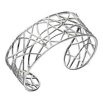 Elements Silver Open Work Bangle - Silver/Clear