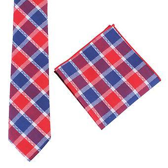 Knightsbridge dassen controleren stropdas en zak plein set - rood/blauw