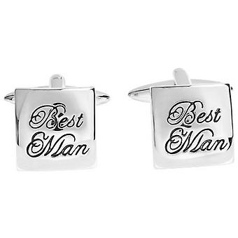 Zennor Best Man Text Cufflinks - Silver/Black