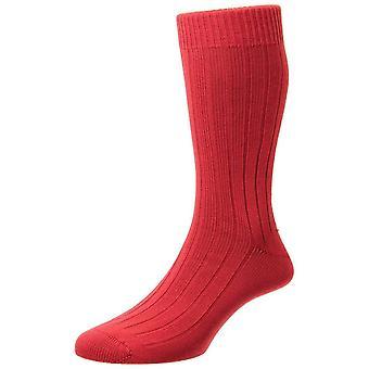 Pantherella Raynor Egyptian Cotton Rib Socks - Bright Red