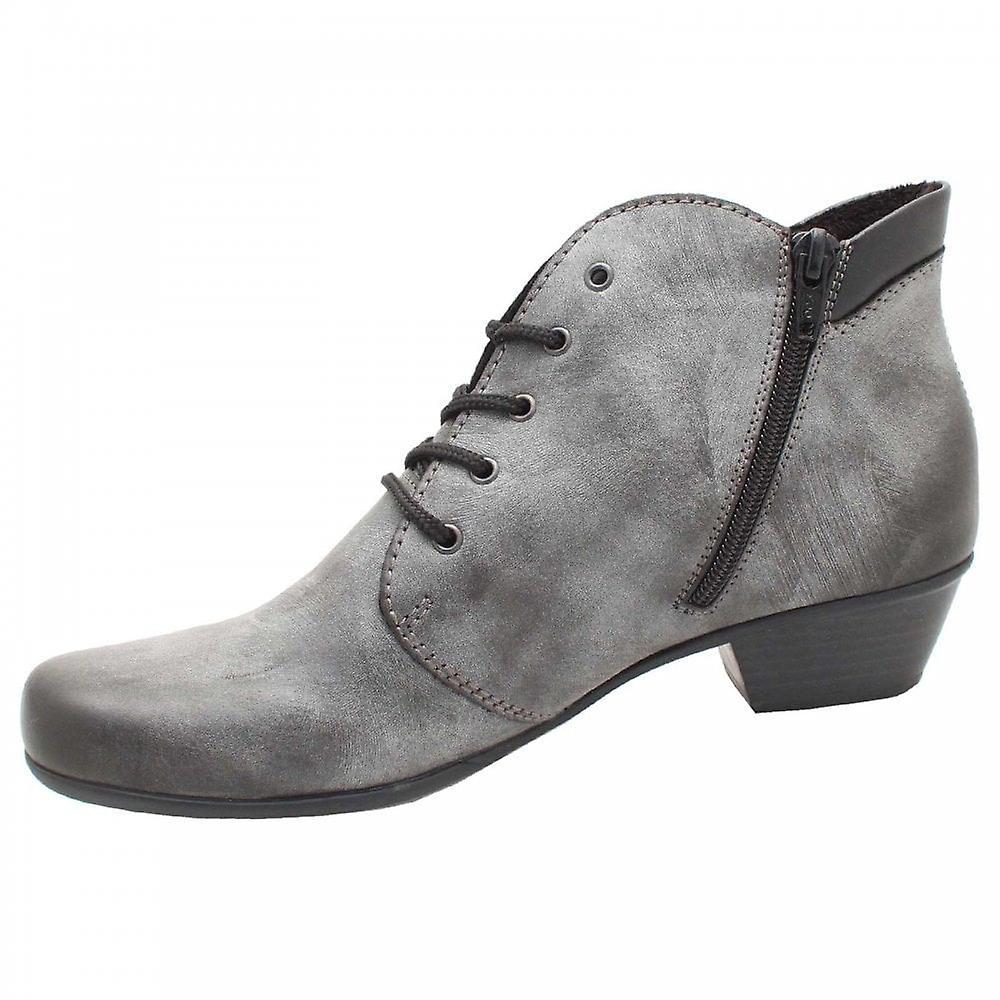 wholesale outlet online store best value Rieker Lace Up Low Block Heel Grey Ankle Boots | Fruugo
