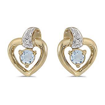 LXR 14k Yellow Gold Round Aquamarine and Diamond Heart Earrings 0.14ct