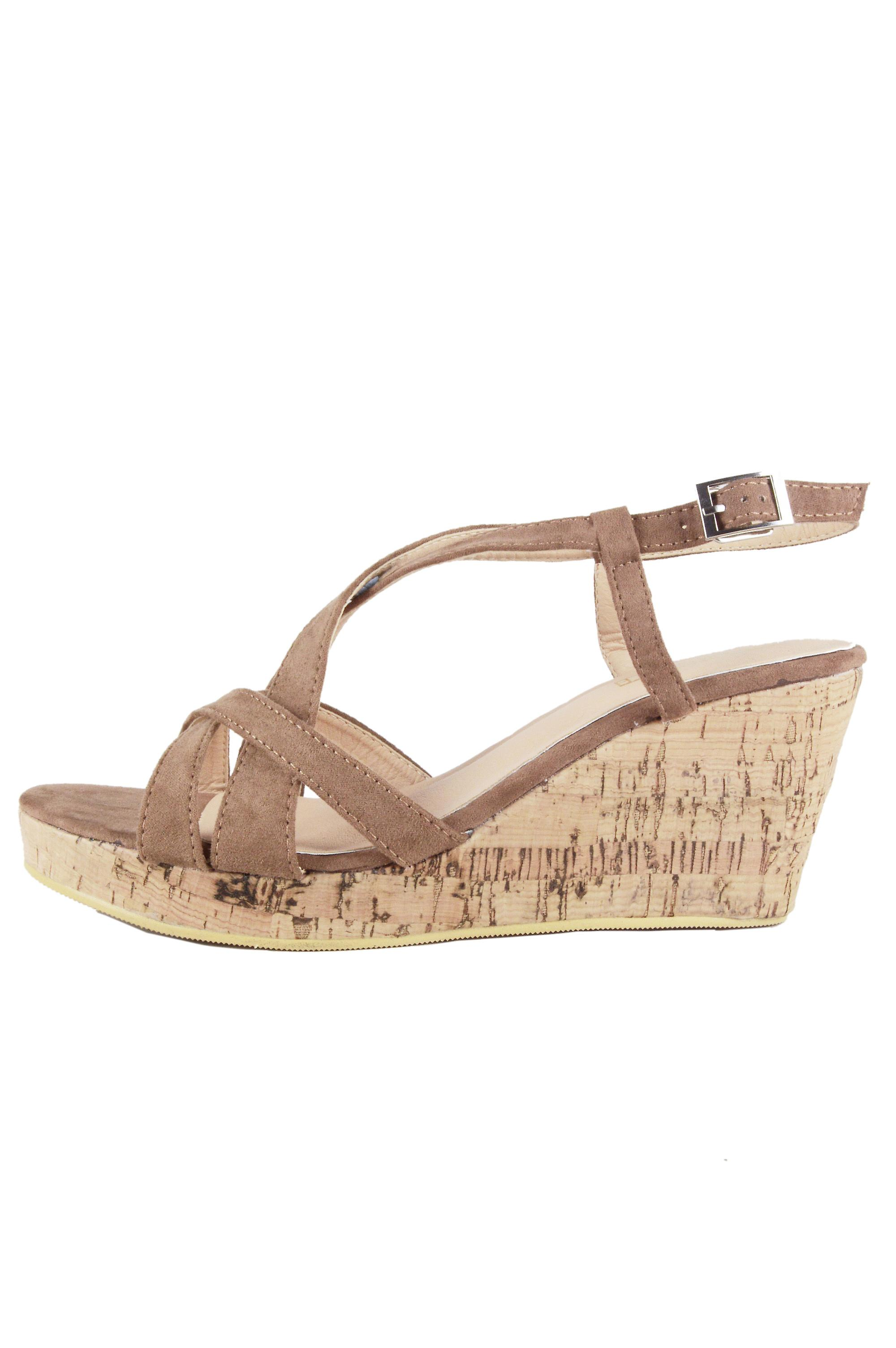 Lovemystyle Cork Wedges With Brown Suede Straps