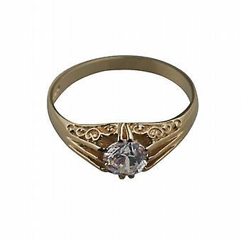 9ct Złota CZ zestaw z rzeźbione ramiona sukienka Ring rozmiar W